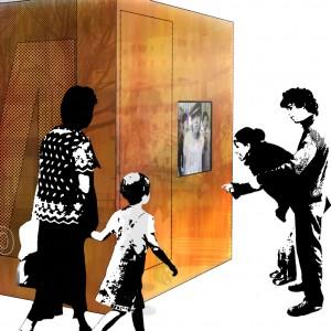 MEMORY-Une caméra permet de s'enregistrer pendant 2mn, un écran témoin permet de voir ce qui est filmé