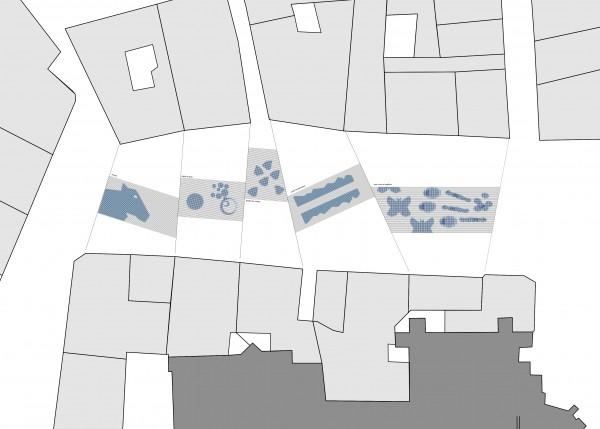 Place Maurice Faure, une ombrière sous forme de ciel tissé.